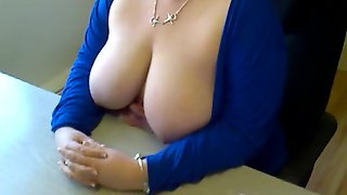 Flashing Big Boobs At Work! Oh Yes!