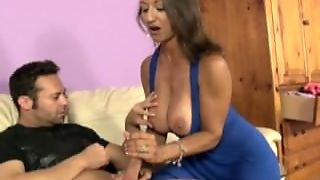 Hot Spanish Girl Jerks Off Her Sons Friend And Gets A Tasty Treat
