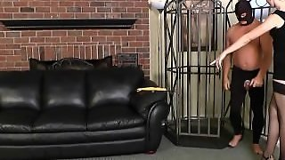 Blonde Femdom Chastity And Caged With Face Sitting Then Milking