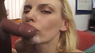 Naughty Darryl Hannah Gives A Blowjob To A Guy With Big Cock