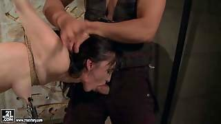Rope Bound Aleksandra Black Gets Her Sexy Bare Butt Spanked
