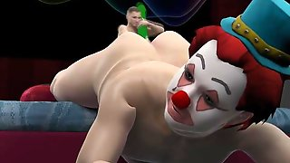 3D Cartoon Clown Sucks Cock And Gets Toyed By A Mini Hunk