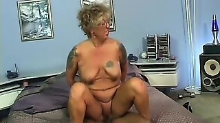 This Dirty Granny With Pierced Tits Milks The Cum Out Of His Cock