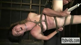 Brunette Hanged Bound And Pleasured Vith Vibrator