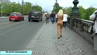 Crazy Blonde Babe Paris Naked On Public Streets