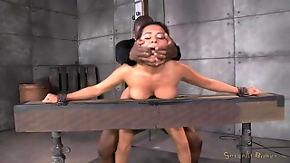 Slut Bound In The Dungeon And Fucked From Both Ends