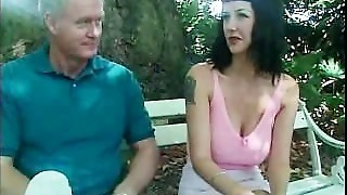 British Slut Violet Storm Gets A Hot Shot In The Mouth On A Park Bench!