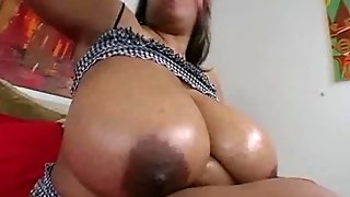 Super Busty Black Bbw Deja Plays With Her Huge 44F Tits And Pussy