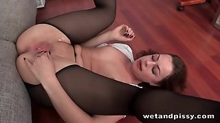 Office Cutie In Blouse And Pantyhose Licks Piss