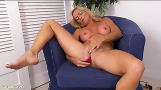 Busty And Beautiful Mature Blonde Plays With Her Toy