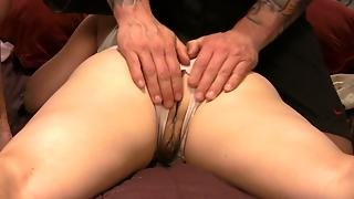 Milf In Ripped Panties Gives Blowjobs