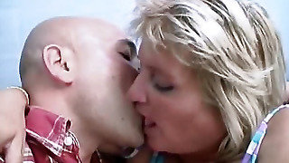 Kisses Fat Woman In A Striped Sundress