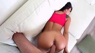 Slim Beauty Welcomes Really Big Cock In Her Trimmes Little Vag
