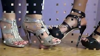 Two Hot Dommes Trample Cock & Balls In Heels!
