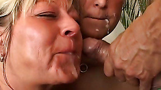 Girls Licking Cum From His Cock