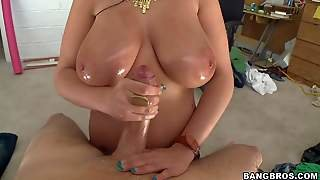 Playful Black Haired Bella Blazes With Enormous Oiled Knockers Enjoys