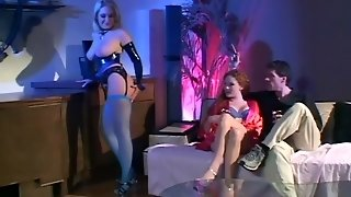 Threesome In Latex And Fishnet Lingerie