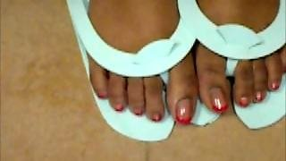 Hood Chick Showing Her Red Toenails