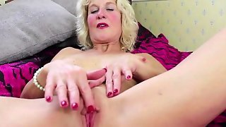 Busty Blonde German Mature Masturbating