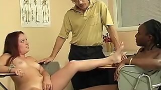 Interacial Lesbian Students And Their Teacher In Foot Fetish Action