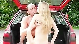 Horny Blonde Got Into Stranger's Car