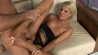 Dude Cums On Blonde's Feet