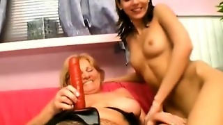 Loose Grandmother Fucks A Teen With A Strap-On