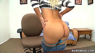 Very Arousing And Tempting Long Haired Blonde Tosh Locks With Natural Boobs And Tight Sexy Ass In Jeans And Blue Thong Gets Naked During Interview And Starts Rubbing Her Sweet Pussy