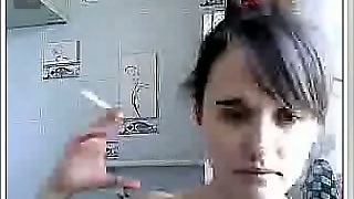 Webcam Solo With A Teen Smoking And Flashing Her Tits