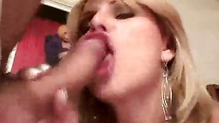 Blonde Tranny Sucks Cock Before Fucking A Studs Ass
