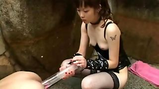 Japanese Mistress Gives Him An Enema Outdoors