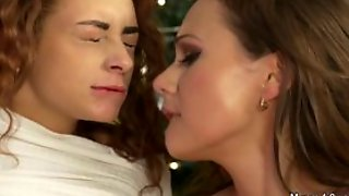 Lesbians In Holiday Lingerie Licking