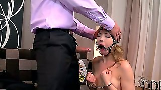 Poor Young Girl Got Her Hands Cuffed And Head Buckled In Bdsm Toy By Her Friend Kandall N And Being Rudely Cussed Out In Her Throat In Livingroom