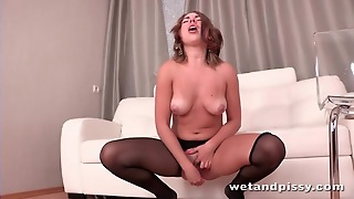 Beautiful Girl In Ripped Pantyhose Pissing