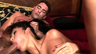 Tanned Brunette Babe Gets Her Ass And Mouth Taken At The Same Time