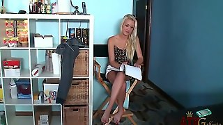 Christy Anderson Answers A Few Questions As She Fills Out Paperwork On The Set Of Her Latest Video Shoot. But We Told Her Just To Take Off Al Her Cloths And To Be A Good Girl.