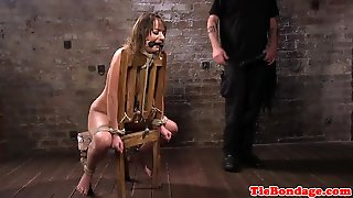 Flogged Submissive Teen Gets Pussytoyed