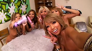 Group Sex Action Along Japanese Babes Rubbing Their Pussies Using A Vibrator