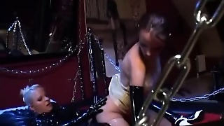 Olesia And Edina Are Latex Lesbian Lovers Eating Pussy And Strapon Fucking