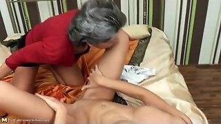 Grandma Shows A Teen Lesbian How To Eat Pussy