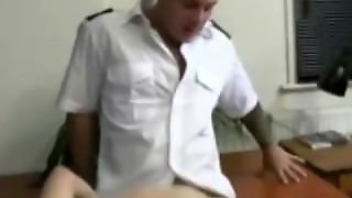 Twink Assfucked In Office By Gay Guy In Uniform With Cumshot