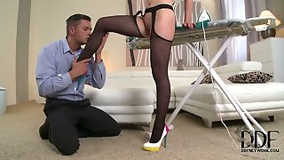 Foot Fetishist Pleases High Heels Of His Mistress And Later Licks Her Feet