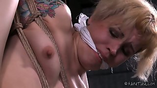 Black Brutal Stud Gives Hard Core Fuck Lesson To Bound Blond Milf Elizabeth Thorn