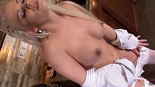 Blonde Milf Playing With Her Pussy And Pouring Milk In Sexy Stockings