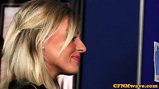 British Femdom Cocksucking Cfnm Sub In Office