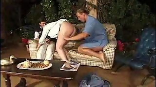 Fat Mature Redhead Outdoors Fucked By Two Guys