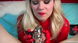 Latex Chastity Tease And Denial In Ball Busting Scene