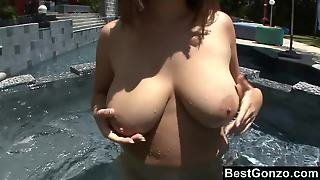 Poolside Fun With Natural Boobs