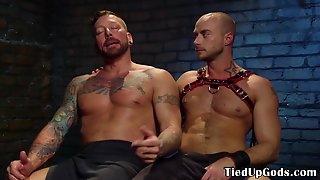 Gagging Submissive Stud Flogged And Ass Gaped