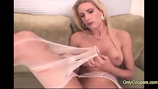 Big Tits Blonde Milf Playing With Her Panties